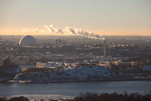 Stockholm in winter, pale light