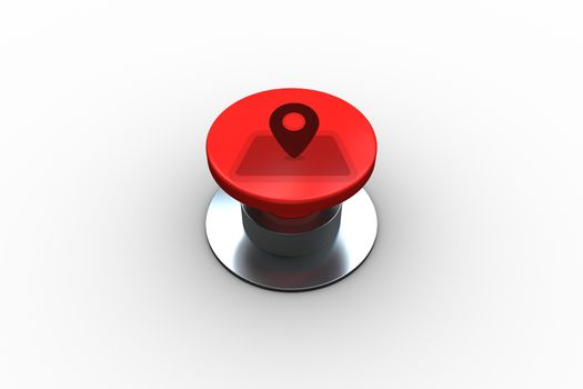 Composite image of map marker graphic on button
