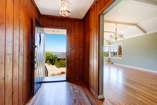 Entry hallway with open door