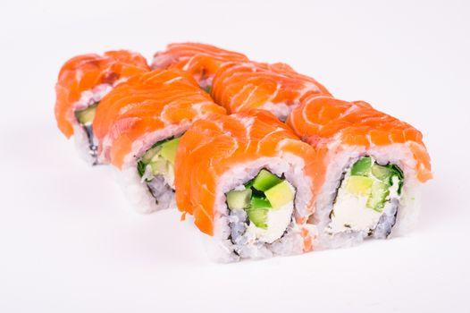 philadelphia  salmon roll isolated on white background