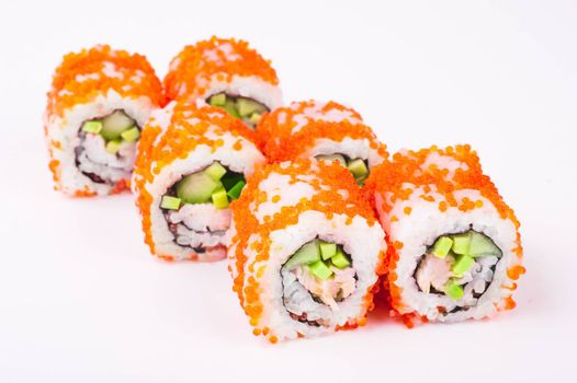 sushi roll in tobiko isolated on white background