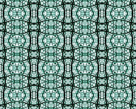 Decorative refined ornament geometric pattern which look like a stained glass church in cold tones and black and white background