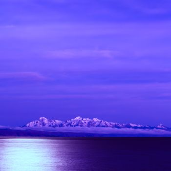 Lake Titicaca and the Andes at Full Moon