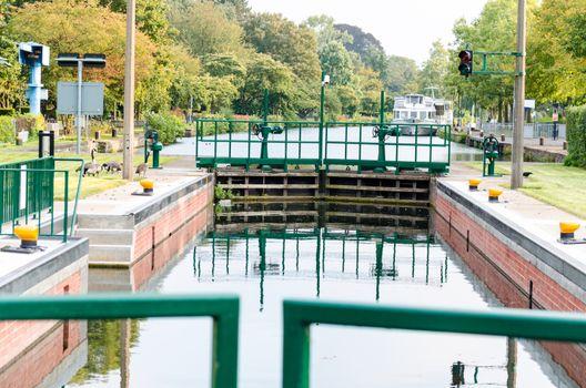 This old lock in Mülheim an der Ruhr was restored in 2014.