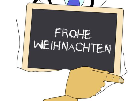 Doctor shows information: Merry Christmas in german