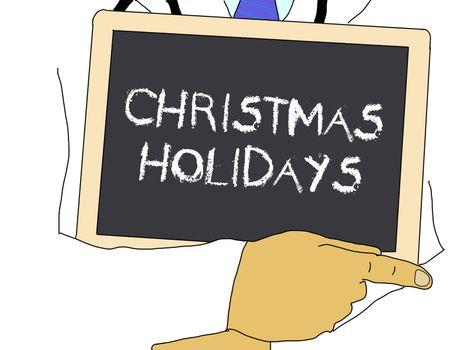 Illustration: Doctor shows information: Christmas holidays