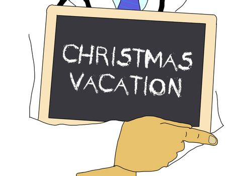 Illustration: Doctor shows information: Christmas vacation