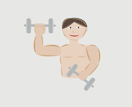 young man body building with two dumbbells