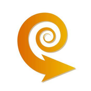 orange gradient spiral arrow on white background