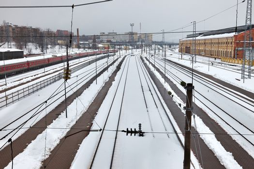 Railroad station tracks in winter