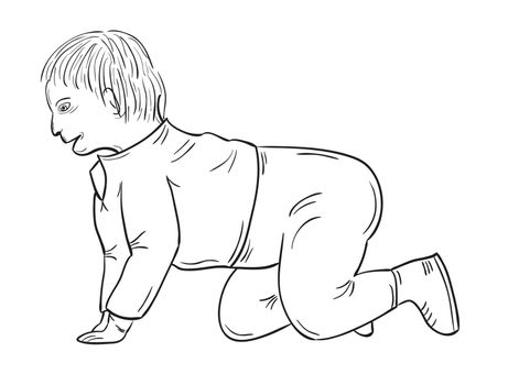 sketch of the toddler on white background, isolated