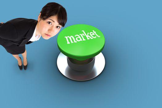 Market against blue vignette