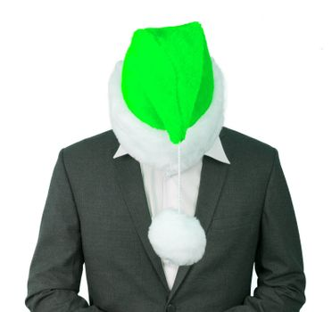 Business man with a santa hat isolated, green