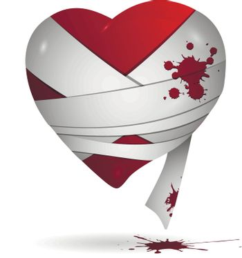 Abstract illustration of red heart in bandages