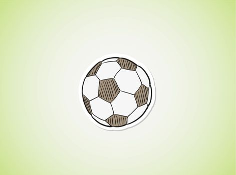 sketch of the football ball on green gradient background