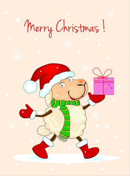 Sheep with gifts and greetings on Christmas