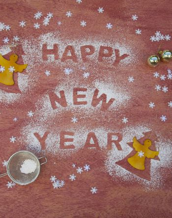 "New Year's Day background with an inscription: ""Happy New Year"""