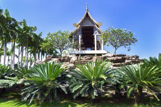 Gazebo and Palm Trees.