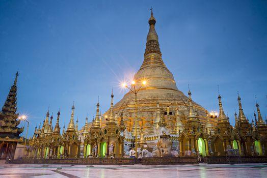 Shwedagon Pagoda in Yangon of Myanmar