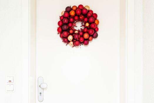 Christmas wreath on entrance door