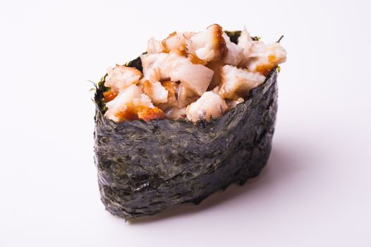 eel gunkan sushi isolated on white background