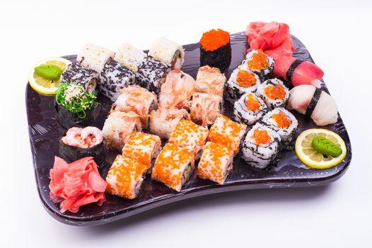 sushi set served on plated isolated on white background