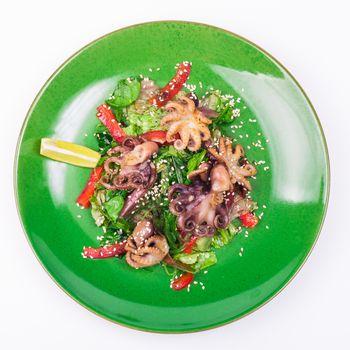 octopus and chuka salad isolated on white background