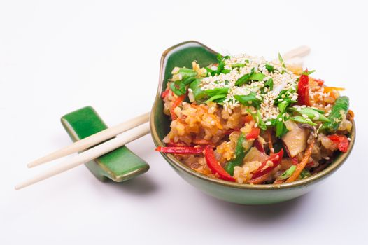 vegetable  fried rice in bowl isolated on white background