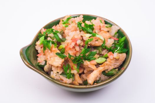 chicken fried rice in bowl isolated on white background