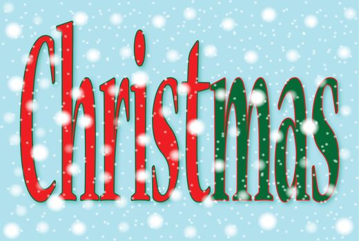 The text Christmas divided into Christ and Mas over a snowing background