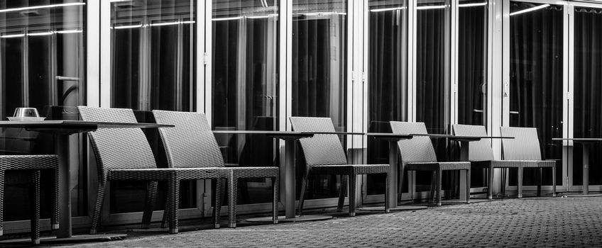 Empty cafe terrace at night