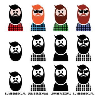 Fashion icons set - lumbersexual man vector icon isolated on white