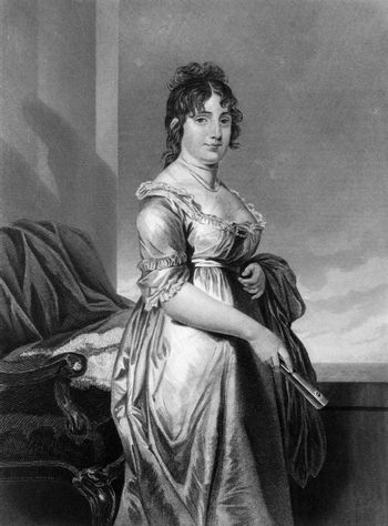 Dolley Madison (1768-1849) on engraving from 1873.  Wife of James Madison, President of the USA. Engraved by unknown artist and published in ''Portrait Gallery of Eminent Men and Women with Biographies'',USA,1873.