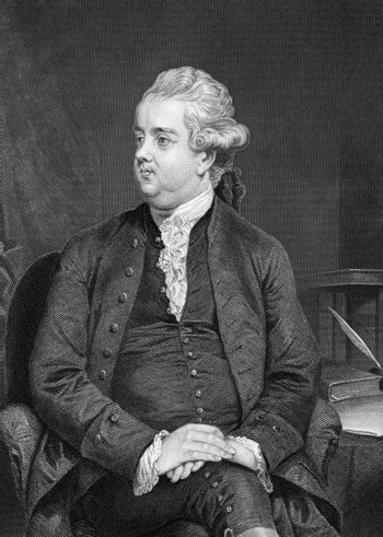 Edward Gibbon (1737-1794) on engraving from 1873. English historian and Member of Parliament. Engraved by A.Chappel and published in ''Portrait Gallery of Eminent Men and Women with Biographies'',USA,1873.