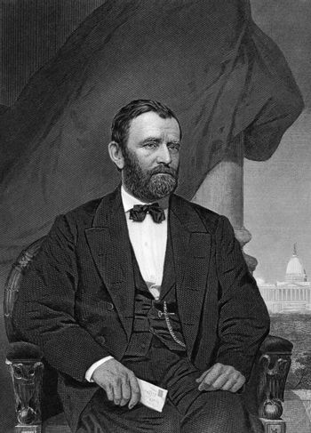 Ulysses S. Grant (1822-1885) on engraving from 1873. 18th President of the United States (1869-1877) and  military commander during the Civil War. Engraved by unknown artist and published in ''Portrait Gallery of Eminent Men and Women with Biographies'',USA,1873.