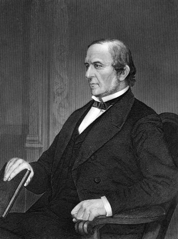 William Ewart Gladstone (1809-1898) on engraving from 1873. British Liberal statesman. Engraved by unknown artist and published in ''Portrait Gallery of Eminent Men and Women with Biographies'',USA,1873.