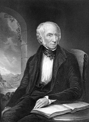 William Wordsworth (1770-1850) on engraving from 1873. Important English Romantic poet. Engraved by unknown artist and published in ''Portrait Gallery of Eminent Men and Women with Biographies'',USA,1873.