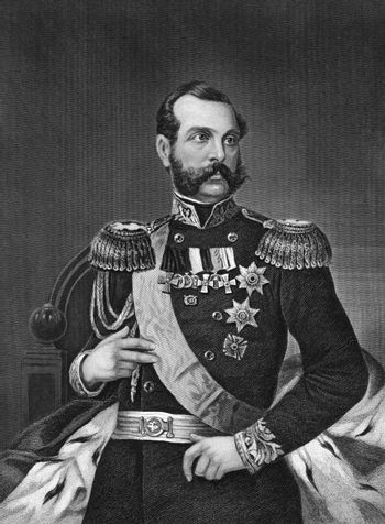 Alexander II of Russia (1818-1881) on engraving from 1873. Emperor of Russia during 1855-1881. Engraved by unknown artist and published in ''Portrait Gallery of Eminent Men and Women with Biographies'',USA,1873.