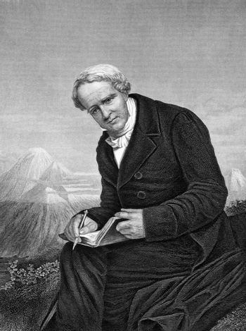 Alexander von Humboldt (1769-1859) on engraving from 1873. Prussian geographer, naturalist and explorer. Engraved by unknown artist and published in ''Portrait Gallery of Eminent Men and Women with Biographies'',USA,1873.