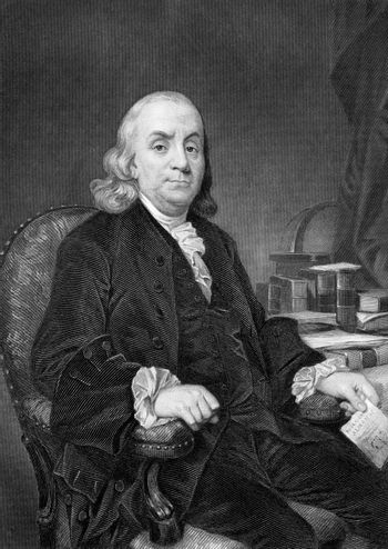 Benjamin Franklin (1706-1790) on engraving from 1873. One of the Founding Fathers of the United States. Engraved by unknown artist and published in ''Portrait Gallery of Eminent Men and Women with Biographies'',USA,1873.