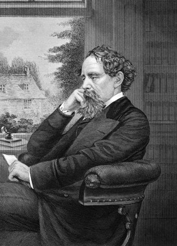 Charles Dickens (1812-1870) on engraving from 1873.  English writer and social critic. Engraved by unknown artist and published in ''Portrait Gallery of Eminent Men and Women with Biographies'',USA,1873.
