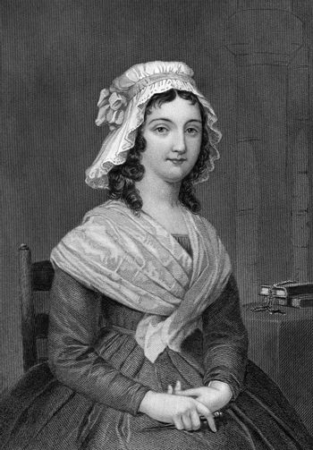 Charlotte Corday (1768-1793) on engraving from 1873. Engraved by unknown artist and published in ''Portrait Gallery of Eminent Men and Women with Biographies'',USA,1873.