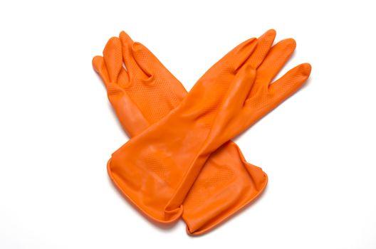 orange cleaning glove