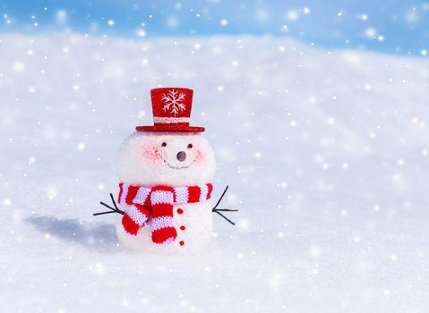 Cute snowman outdoors
