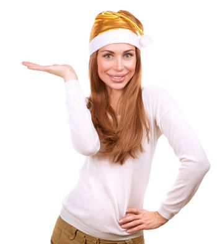 Pretty woman wearing Santa hat