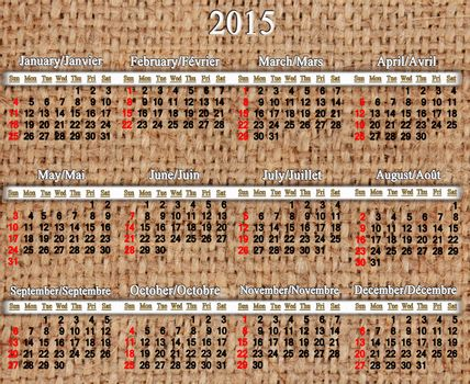 calendar for 2015 year on the sacking