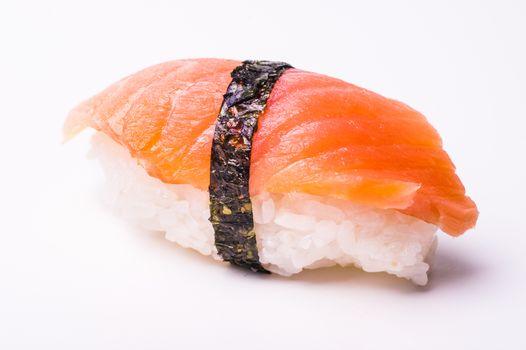 salmon sushi with noriisolated on white background