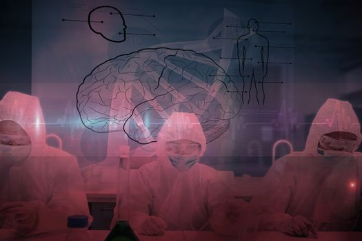 Chemists working in protective suit with futuristic interface showing DNA against ecg line in red and black