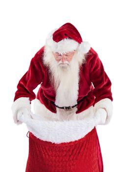 Santa looks in his bag
