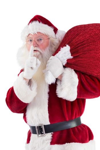 Santa asking for quiet with bag
